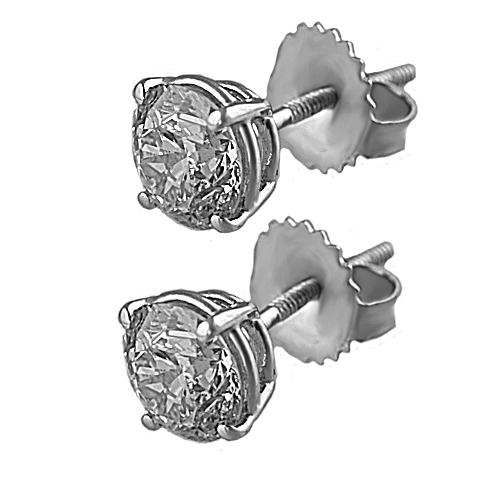 4.38cts. total weight diamond  SI3 in clarity over 14k white gold diamond stud earrings.